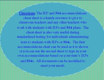 IEP and 504 Accommodations One Glance Cheat Sheet
