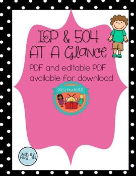IEP and 504 at a Glance