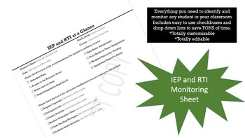IEP and RTI Monitoring Sheet