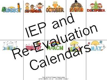 IEP and Re-Evaluation Calendar