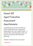 IEP and Transition Questionnaire for Parents