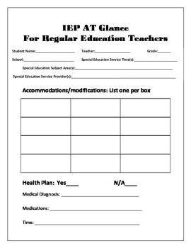 IEP at Glance for Regular Education Teachers