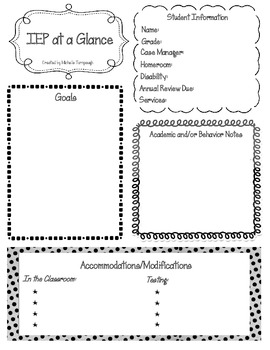 Iep at a glance pdf type in form by michelle t tpt for Iep at a glance template