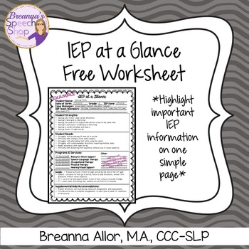 IEP at a Glance Free Worksheet