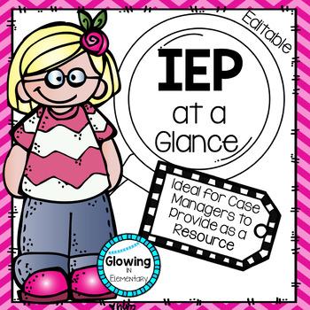 Editable IEP at a Glance
