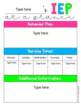 IEP at a Glance EDITABLE