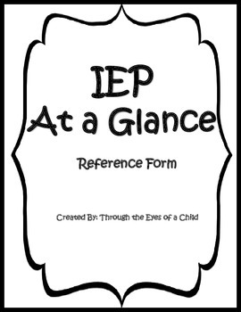 IEP at a Glance ESE reference form
