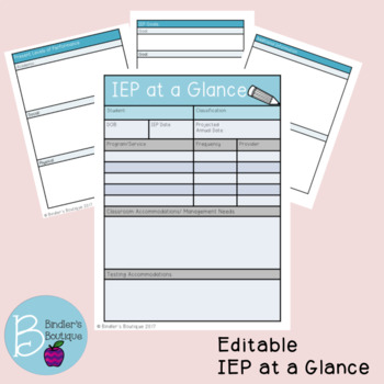 Iep At A Glance Teaching Resources | Teachers Pay Teachers