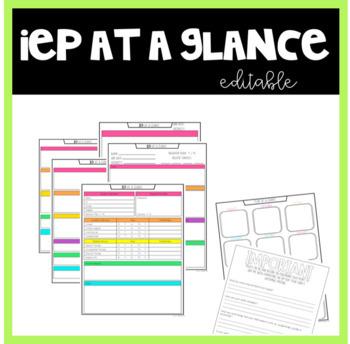 IEP at a Glance Editable
