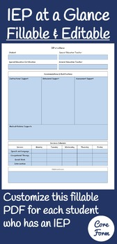 IEP at a Glance Fillable & Editable