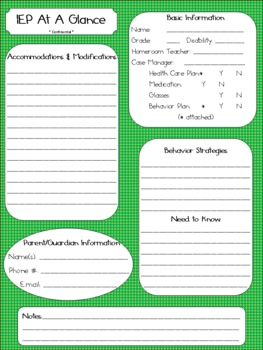 IEP at a Glance Green