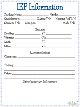 Iep at a glance sheet by sublime speech teachers pay for Iep at a glance template