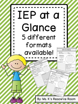 IEP at a Glance Sheet - 5 versions available!