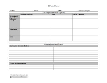 IEP at a Glance - Single Page