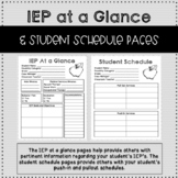IEP at a Glance and Student Schedule Forms