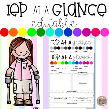 IEP at a glance (Editable!)