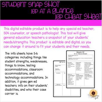 IEP at a glance, IEP cheat sheet, student snap shot