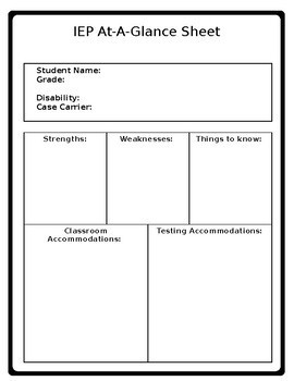 iep at a glance template - iep at a glance iep cheat sheet student snap shot by