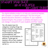 IEP at a glance, IEP cheat sheet, student snap shot