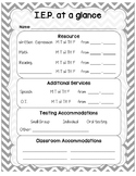 IEP at a glance student sheet