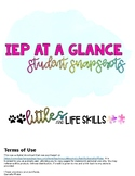 IEP at a glance - editable student snapshots
