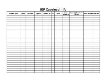 IEP caseload information sheet