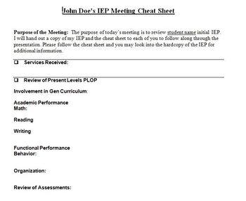 IEP cheatsheet Document