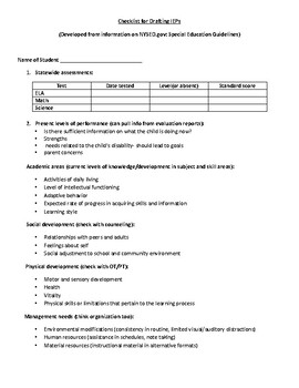 IEP checklist-present levels of performance and goals with