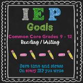 IEP goals ELA 9 to 12 grade