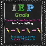 IEP goals ELA 9 to 12 grade