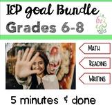 IEP goals middle grades ELA &  Math Banks SMART objectives