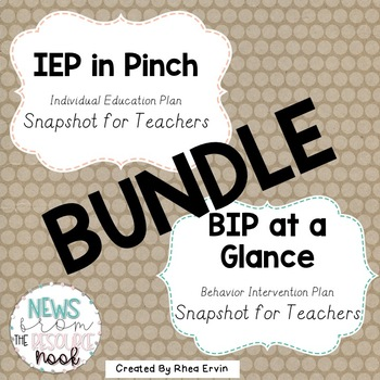 IEP in a Pinch and BIP at a Glance Bundle