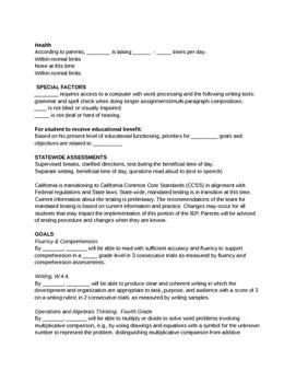 IEP language sentece frames, scripts, and wording templates