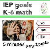 IEP math goals Kindergarten to sixth grade