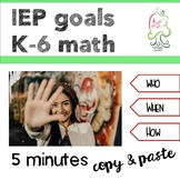 IEP math goal Kindergarten to sixth grade