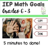 IEP math goal bank  6, 7 & 8.  SMART editable common core