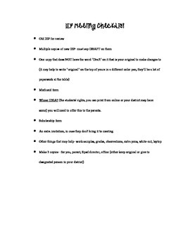 IEP meeting checklist Special Education Intervention Specialist