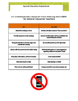 IEP meeting do's and don'ts