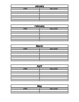 IEP month organization