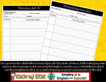 IEP note taking sheet