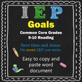 IEP reading goals grade 9 & 10