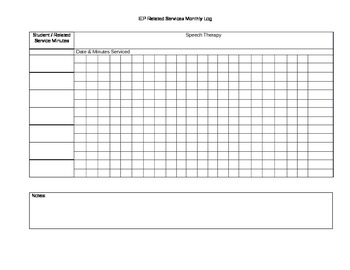 IEP related service log / tracker