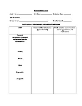 IEP student exit summary template