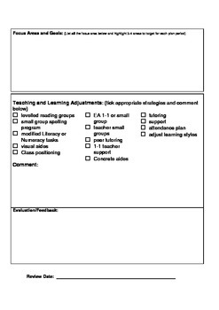 IEP template- A document for teachers and schools
