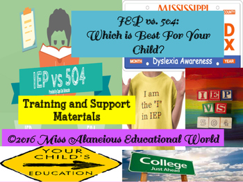 IEP vs. 504 Plan Training and Support Material