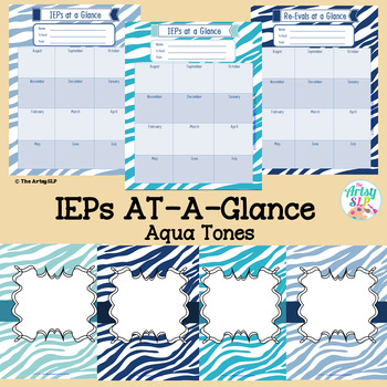 IEPs/Re-Evals At-A-Glance and Binder Covers (Aqua Tones)