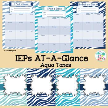 IEPs/Re-Evals At-A-Glance and Binder Covers (Aqua Tones)