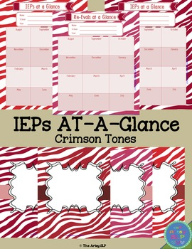 IEPs/Re-Evals At-A-Glance and Binder Covers (Crimson Tones)