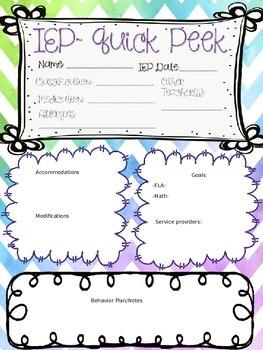 {IEP} Quick Peek - Special Education Form (EDITABLE)