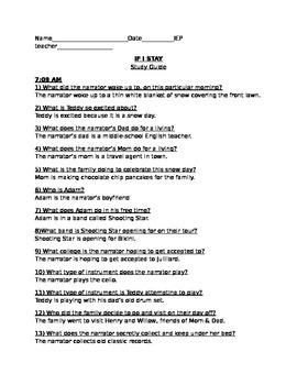 IF I STAY STUDY GUIDE